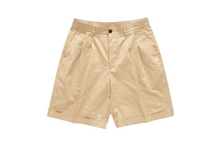 Wide Turn Up Shorts (Beige)